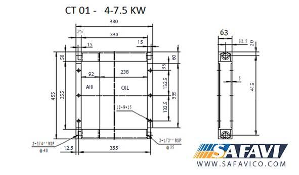 رادیاتور خنک کننده روغن کمپرسور 7.5 کیلو وات