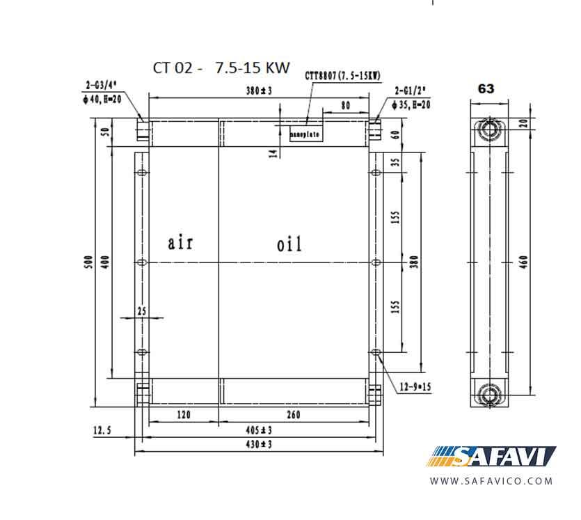 رادیاتور روغن کمپرسور 15 کیلو وات