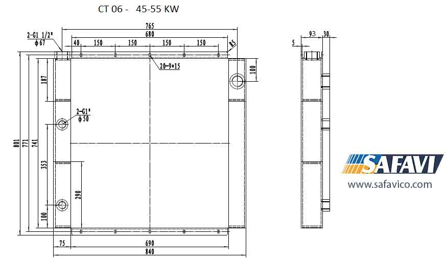 رادیاتور خنک کننده روغن کمپرسور اسکرو 55 کیلو وات