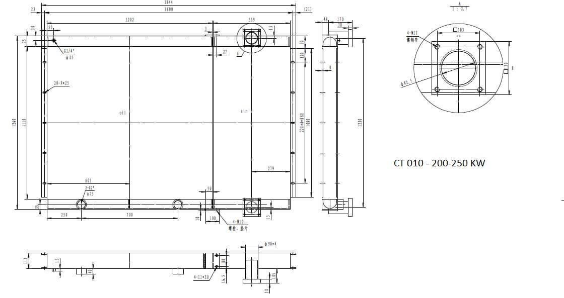 رادیاتور کمپرسور اسکرو 250 کیلو وات
